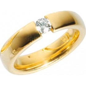 Trauring Gold 585 Brillant 0,25ct W/SI Breite 5mm Stärke 2,5mm Spannring Optik