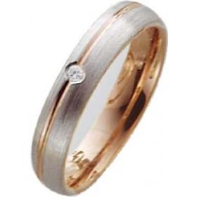 Trauring in Weißgold 585/- / Rotgold 585/-, mit echtem Brillanten 0,03ct W/SI, Breite 4,0mm, Stärke 1,6mm. Die Gravur der Trauringe sowie das Etui erhalten Sie kostenlos dazu und bei diesen einfarbigen Trauringen - Eheringen ist auch der kostenlose Auffri