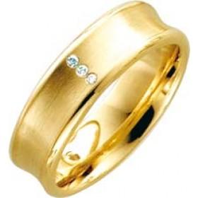 Trauring Ehering Gelbgold 14k 585/- 3 Brillanten 0,015ct W/SI