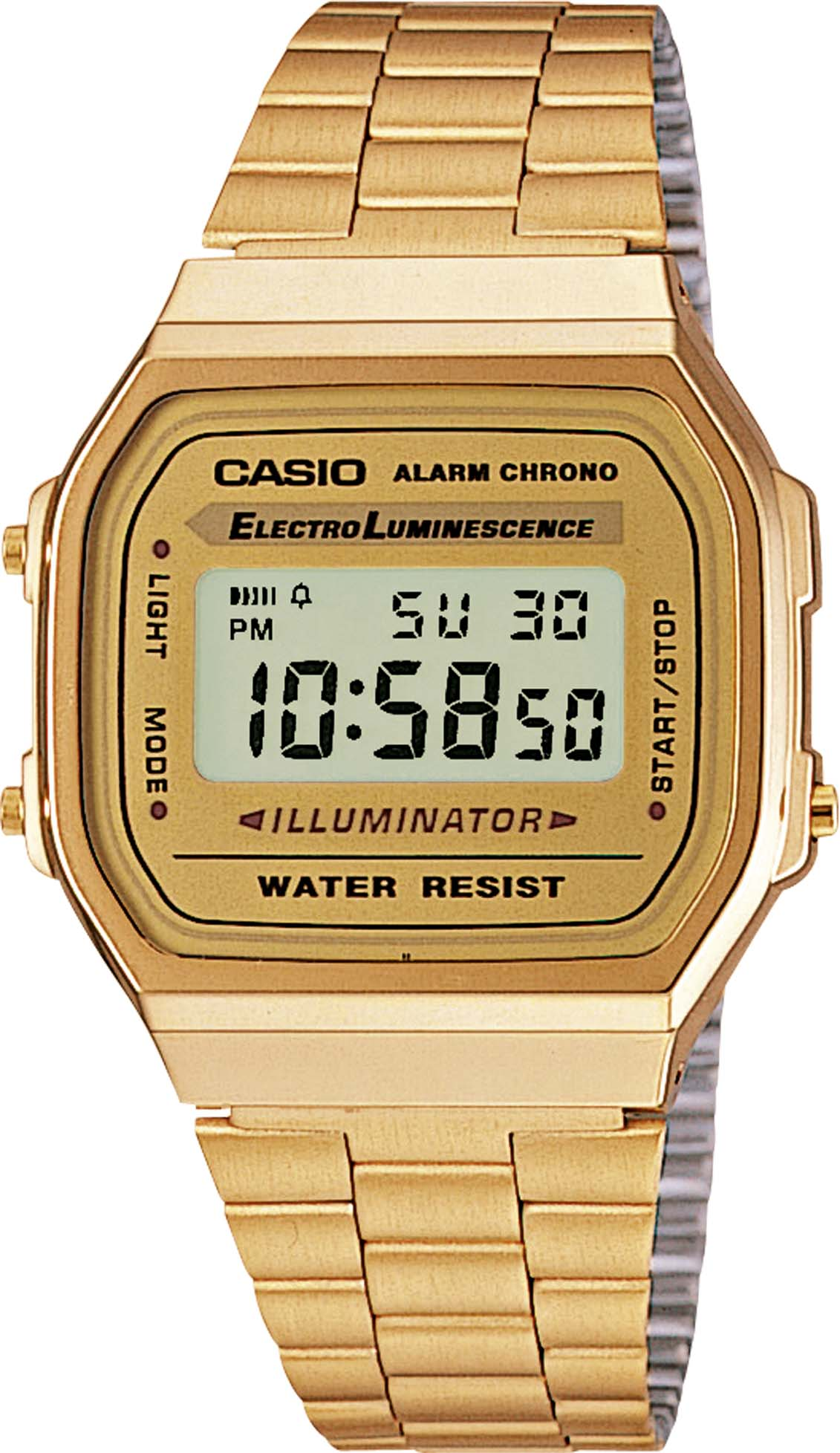 CASIO A168WG-9EF Quazwerk, Digital ionisiertes Armband Edelstahl gelb vergoldet 38 x 36 x 10 mm 364965000
